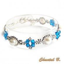 bracelet cristal swarovski bleu perles nacrées et argent tissées