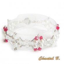 bracelet cristal swarovski rouge perles nacrées et argent tissées