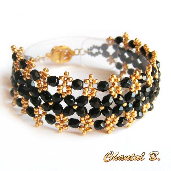 bracelet manchette tissé perles bohème noir et or mariage soirée