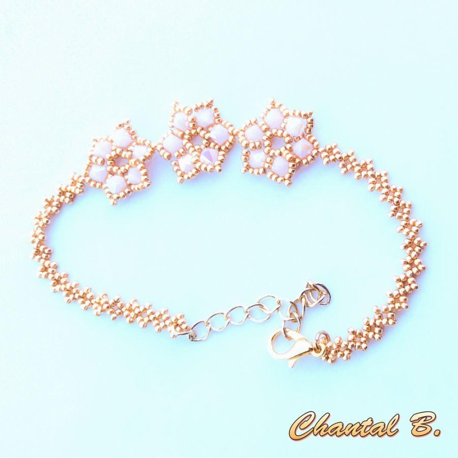 bracelet de mariée fleurs de perles roses tissées et doré
