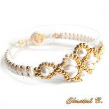 bracelet perles tissés perles blanches nacrées et or mariage soirée