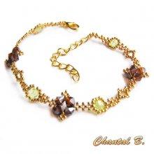 bracelet perles tissées swarovski bronze boheme vertes et doré