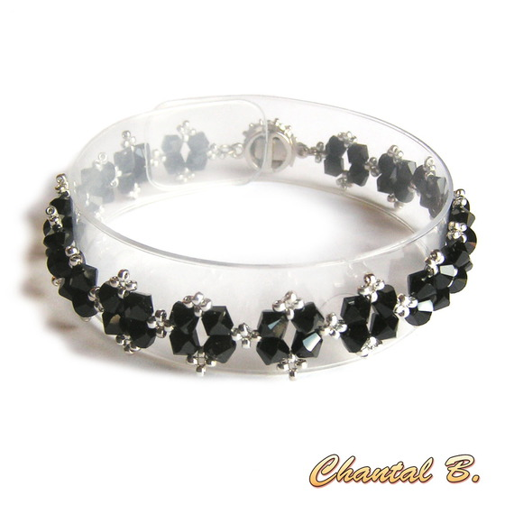 bracelet swarovski noir brillant baroque perles tissées swarovski cristal noir et argent