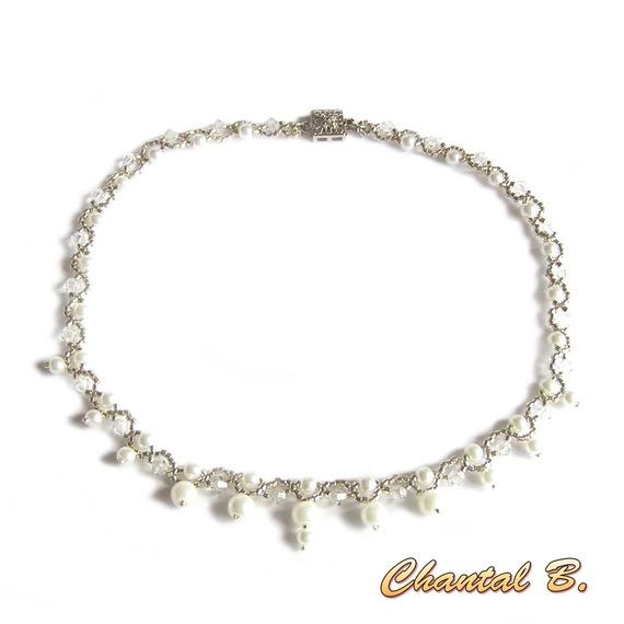 bracelet swarovski perles tissées swarovski cristal perles nacrées et argent romantique mariage
