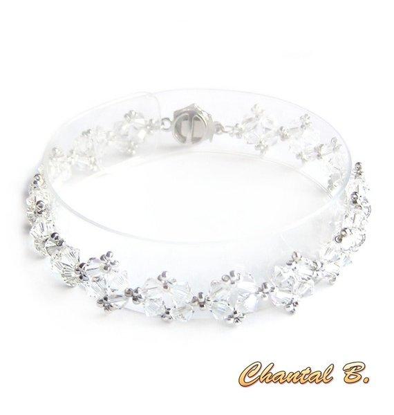 bracelet swarovski romantique perles tissées swarovski cristal et argent