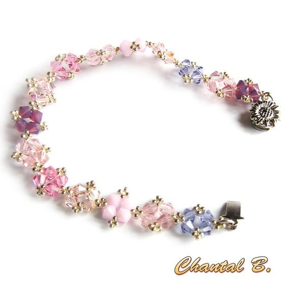 bracelet swarovski rose mauve fuchsia romantique perles tissées swarovski cristal rose et argent