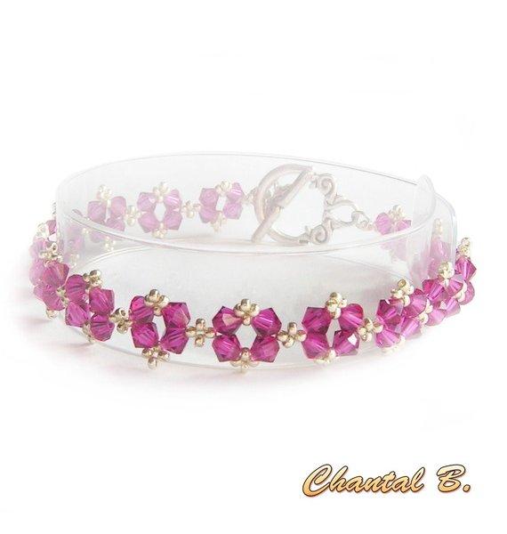 bracelet swarovski rose fuchsia romantique perles tissées swarovski cristal rose et argent