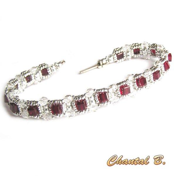 bracelet Saint Valentin swarovski siam cube précieux perles tissées swarovski et argent
