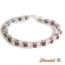 bracelet swarovski siam cube précieux perles tissées swarovski et argent