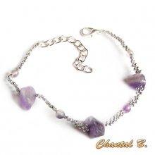 bracelet tissé améthyste pierres naturelles et fluorite violette et argent