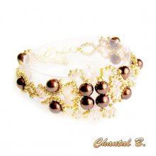 bracelet tissé perles nacrées chocolat perles transparentes saumon et or mariage soirée