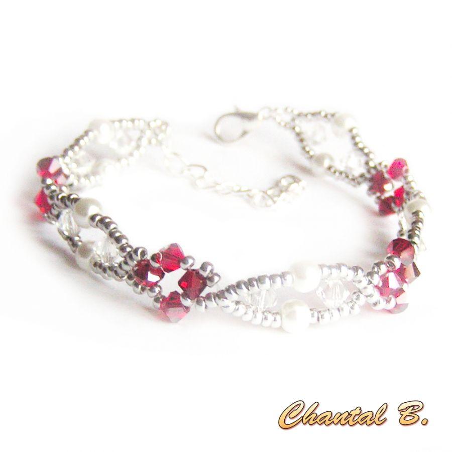 bracelet tissé cristal swarovski perles nacrées et argent