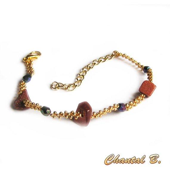 bracelet tissé pierre de soleil naturelles et cristal boheme bleue et or