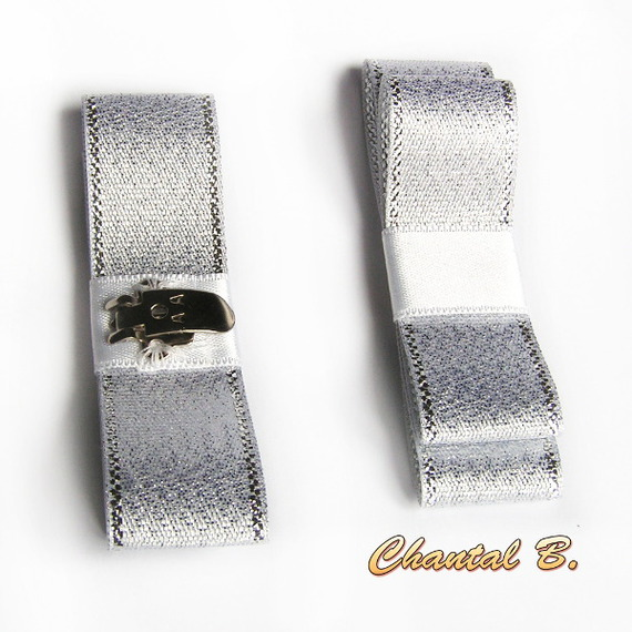 clips chaussures mariage noeud ruban fantaisie blanc argent satin