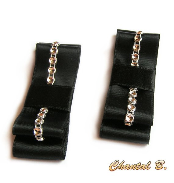 clips chaussures mariage noeud satin noir et argent