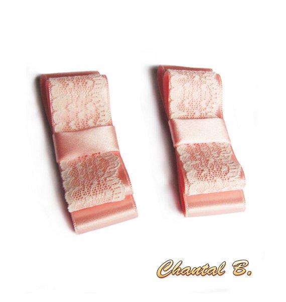 clips chaussures mariage noeud satin et dentelle saumon mariée