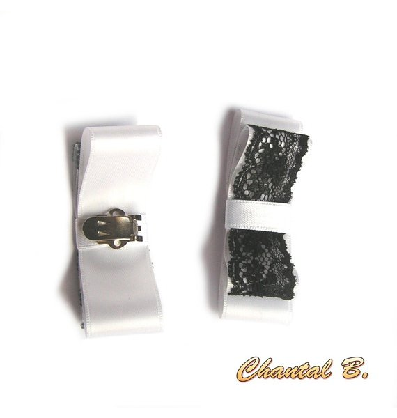 clips chaussures mariage noeud satin blanc et dentelle noire accessoire cérémonie soirée baroque