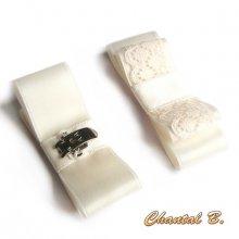 clips chaussures mariage noeud satin et dentelle ivoire mariée