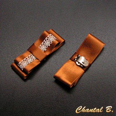 clips chaussures noeud satin cuivré et dentelle ivoire