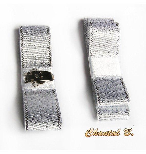 clips chaussures soirée mariage noeud ruban fantaisie argent