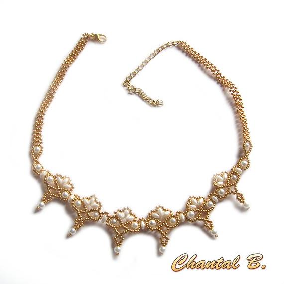 collier tissé perles nacrées blanches et or mariage soirée