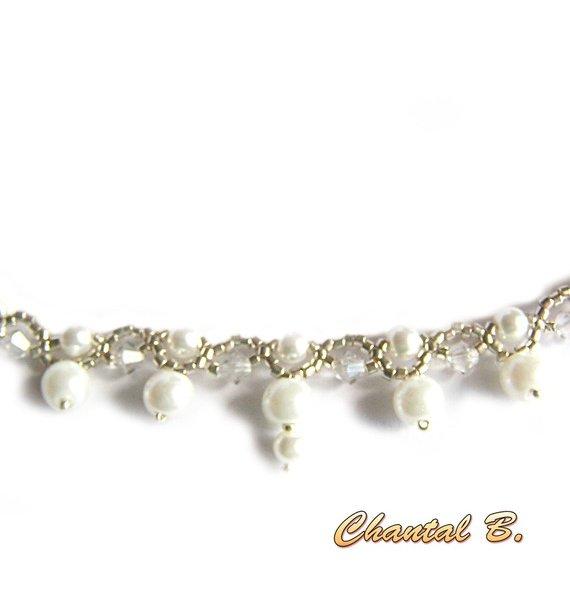 collier tissé perles nacrées blanches perles swarovski cristal et argent mariage soirée