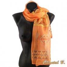 foulard écharpe mousseline de soie orange peint main accessoire soirée