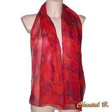Foulard long soie écharpe rouge nuancé et or Arès peint main