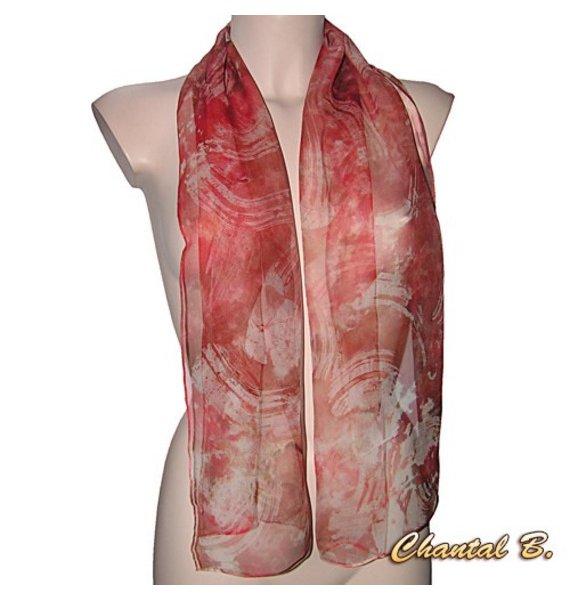 foulard mousseline de soie saumon et marron Manava