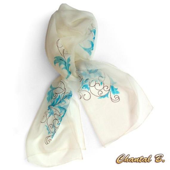 foulard turquoise soie arabesques doré et chocolat