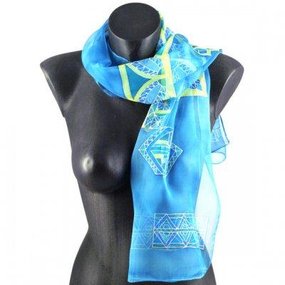 foulard écharpe mousseline de soie turquoise peint main accessoire soirée