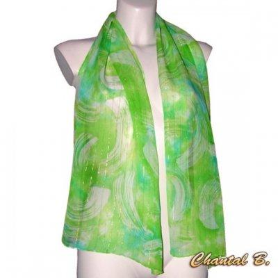 foulard écharpe mousseline de soie turquoise et vert anis fils dorés