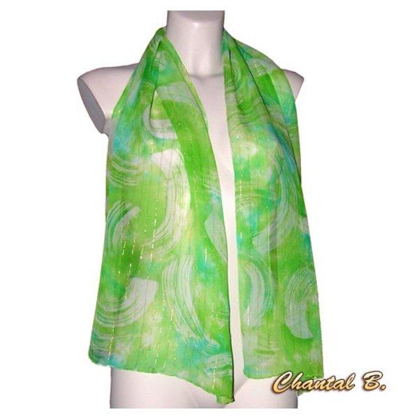 foulard écharpe mousseline de soie vert turquoise et fils dorés peint à la main
