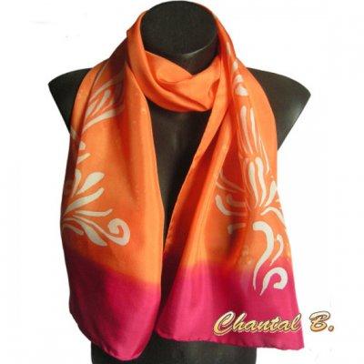 foulard écharpe soie arabesques peinte à la main orange et rouge rubis