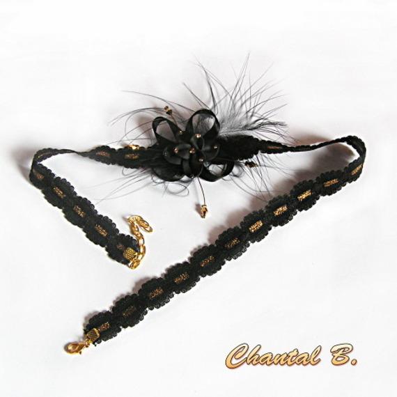 headband bandeau cheveux dentelle noire et or fleur polymère et satin strass dorés