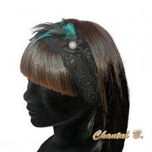 headband bandeau turquoise cheveux dentelle et plumes bleu turquoise et noir