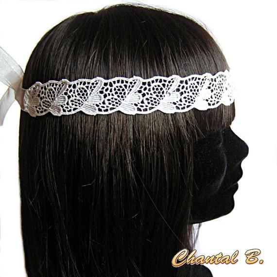 headband mariage bandeau dentelle blanche et strass bandeau de cheveux
