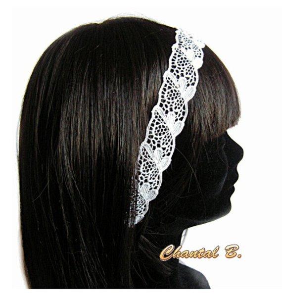 headband mariage dentelle blanche et strassbandeau de cheveux