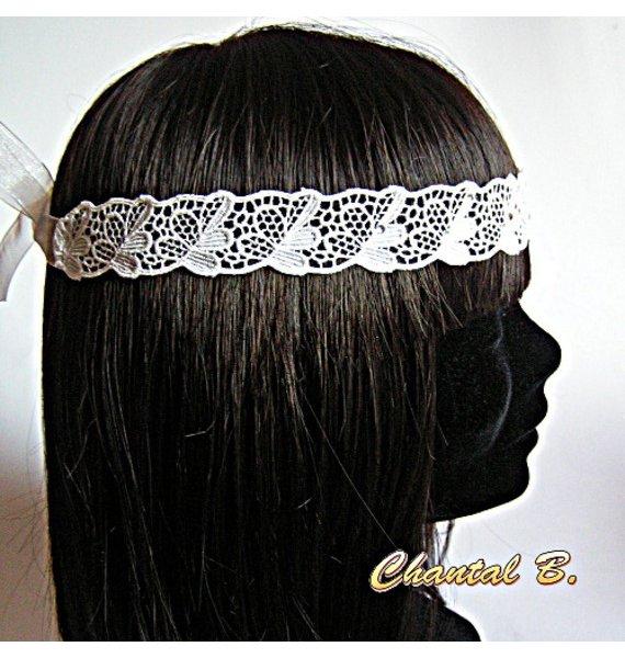 headband mariage dentelle ivoire et strass bandeau de cheveux dentelle ancienne