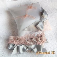 jarretière mariage romantique satin gris dentelle saumon Graziella