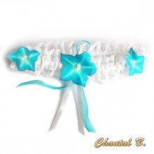 jarretière mariée dentelle blanche fleurs de soie  turquoise