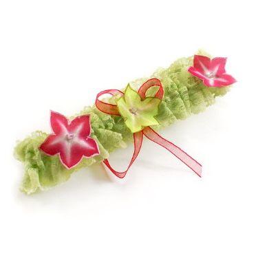 jarretière dentelle anis fleurs fuschia