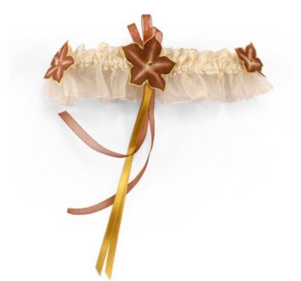 jarretière dentelle ivoire fleur de soie chocolat et or