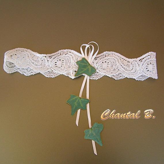 jarretière mariage dentelle extensible ivoire  et LIERRE soie nature zen champètre