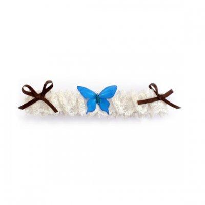 jarretière mariage dentelle blanche et papillon de soie turquoise