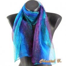 long foulard mousseline de soie écharpe peint main dégradé turquoise violet emeraude