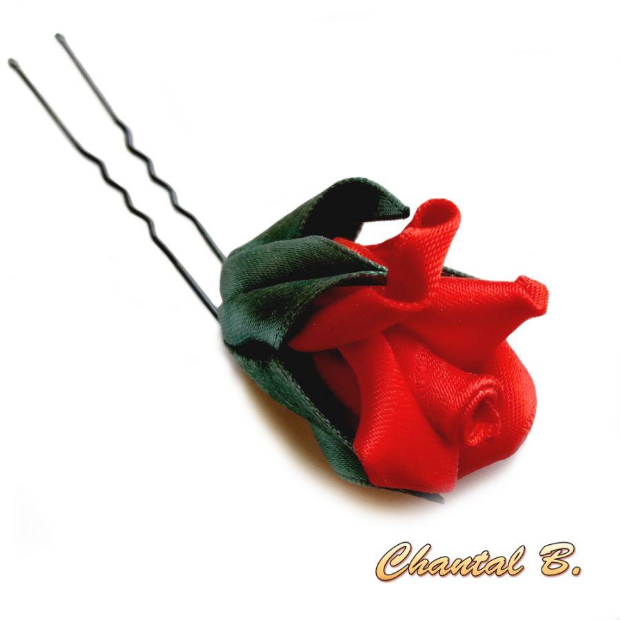 épingle à cheveux mariage pic à cheveux bouton de rose de satin rouge