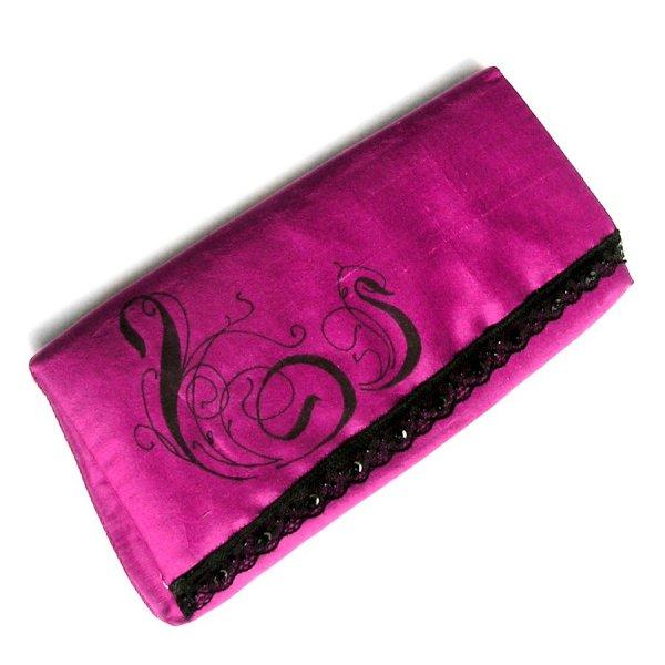 pochette fuschia sac baguette soie sauvage peinte mariage