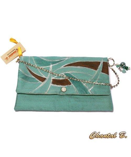 pochette soie bleu vert amande et argent peinte main