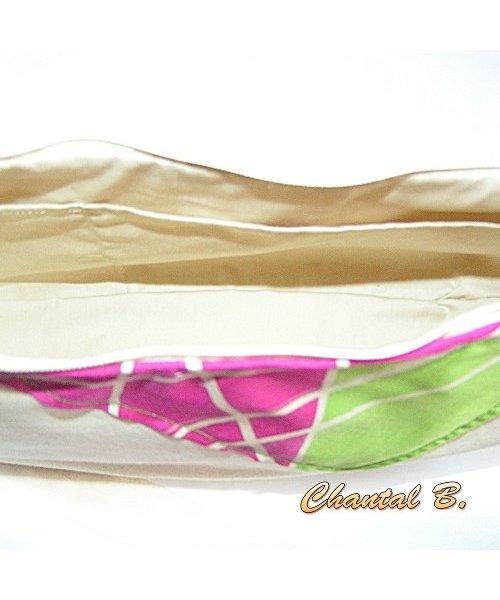 sac à main coton ivoire et soie rose et anis Claudia peint à la main